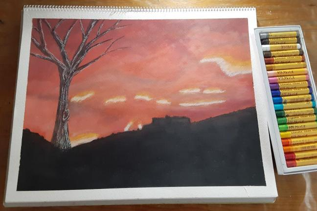 Oil Pastel Fire in the Mountains