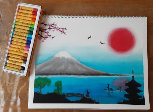 Oil Pastel of Japan