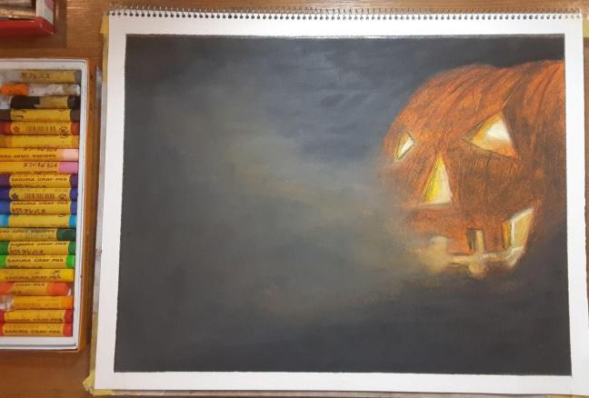 Oil Pastel Scary Halloween