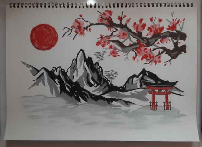 Soft Pastel Painting of Japan